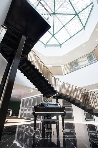 sweeping art deco staircase